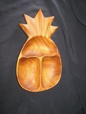 * LQQK * VINTAGE Monkey Pod Pineapple Shaped Three Section Wood Bowl * BEAUTIFUL