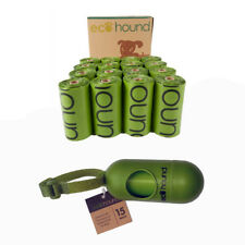 Ecohound Moss Green Dog Waste Bags on a Roll With Single Poo Bag Dispenser