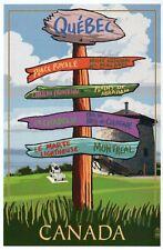 Quebec Destination Signpost Canada, Place Royale, Montreal etc - Modern Postcard
