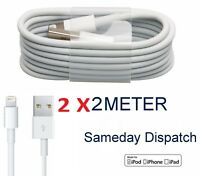 2x 2M Genuine MFi iPhone 7 8 6 6S Plus 5S Lightning Sync Charger USB Data Cable