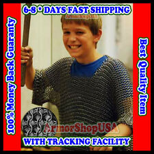 BUTTED CHAIN MAIL CHAINMAIL SHIRT BLACK CARBON STEEL FOR 5 to 9 YEARS CHILD LARP