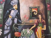 woman in bar coffee large oil painting canvas contemporary resturant original