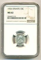 Straits Settlements (Malaysia) Silver 1926 10 Cents MS62 NGC