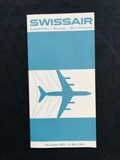 SWISSAIR Airline REGIONAL TIMETABLE BROCHURE BOOK, 1962 Swiss Air Airplane