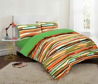Wave Stripe Reversible Duvet Set Cotton Blend Quilt Cover Pillowcase Bed Linen