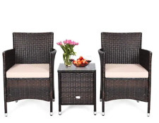 3 Pcs Patio Furniture Set with Table Rattan Wicker