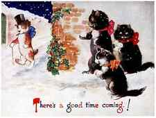 Postcard: Vintage Repro - Cats Throw Snowballs at Well Dressed Dog in Top Hat
