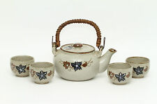 Teapot with 4 Teacups OMC Japan Pottery Rattan Handle