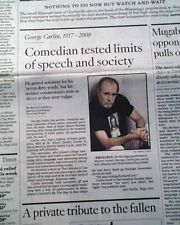 """GEORGE CARLIN Stand-Up Comedian """"Seven Dirty Words"""" Comedy DEATH 2008 Newspaper"""