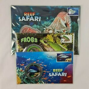 Australian Stamps & Medallion PNC Native Frogs + Reef Safari Great Barrier Reef