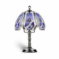 """23.5"""" Tall Metal Touch Table Lamp, Chrome finish, Dolphin-Patterned Glass Shade"""
