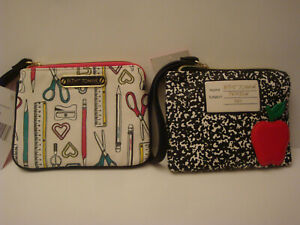 BETSEY JOHNSON BACK TO SCHOOL WRISTLET POUCH SCHOOL SUPPLIES/RED APPLE NWT