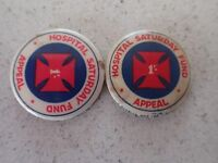 2 x Vintage Hospital Saturday Fund Appeal 1/- Tin Pin Badge
