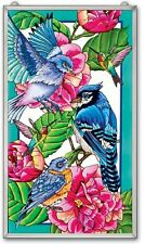 "AMIA STAINED GLASS 13"" X 23"" SUNCATCHER REFLECTION BLUE JAY WINDOW PANEL #41183"