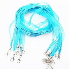 10x 130024 Wholesale Blue Silk Ribbon & Waxed Cord Necklace Findings 46cm