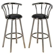 New Set of 2 Chrome Plated Metal Black Swivel Vinyl Leather Seat Pub Bar Stools