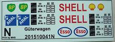Aral Shell Esso und BP Logos für Kesselwagen Decals 1:160 oder Spur N