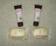 SHERATON TRAVEL SIZE TOILETRIES 2 x SOAPS 30g, 2 X BODY LOTION 35ml NEW FREE P&P