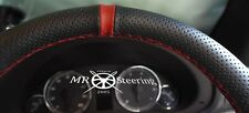 FOR AUDI A4 B5 B6 94-06 PERFORATED LEATHER STEERING WHEEL COVER + DARK RED STRAP