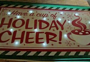 """Holiday CHEER DRINK Vintage Light up COFFEE TEA CUP Home Bar Sign 24"""" x12"""""""