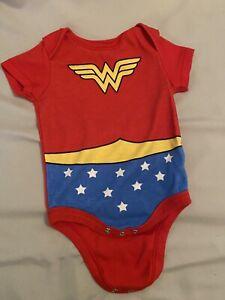 Newborn Baby DC Comics Wonder Woman Bodysuit Creeper. Crawler, One Piece, Romper