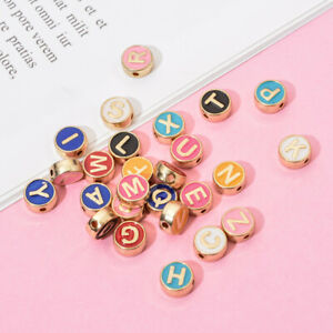 100 x Multi-color Alloy Enamel Letter Beads Flat Round Bead DIY Bracelet