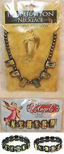 Inspirational Catholic Healing Hematite Necklace Angel Stretch Bracelet Set