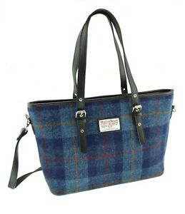 Ladies Authentic Harris Tweed Tote Bag With Shoulder Strap Blue Check COL 14