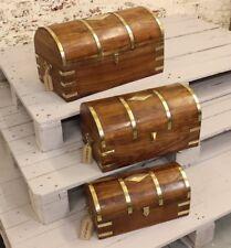 Basava Set di 3 in ottone Treasure Storage cassapanche Marrone Scatole con dettagli in ottone