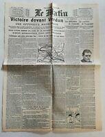 N959 La Une Du Journal Le Matin 25 octobre 1916 victoire devant Verdun