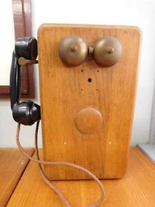 c1900s Australian PMG Wood Case Hand Crank Wall Telephone