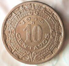 1945 MEXICO 10 CENTAVOS - Mayan Calendar - Great Coin - FREE SHIP - Mex Bin #3