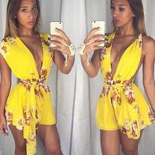 Women Ladies Clubwear V Neck Playsuit Bodycon Party Jumpsuit&Romper Trousers