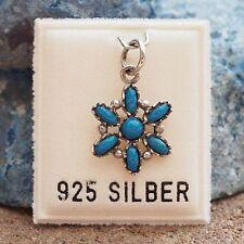 NEU 925 Silber KETTENANHÄNGER Blüte SCHMUCKSTEINE türkis/blau ANHÄNGER BLUME