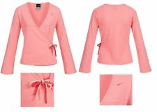 NIKE WOMEN`S YOGA COVER UP WRAP TOP SIZE UK 12 (US 8, EU 40) SHIRT PALE PINK