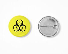 Button Biohazard Pin Gefahr gelb Anstecknadel Warnung vor Biogefährdung [#1448]