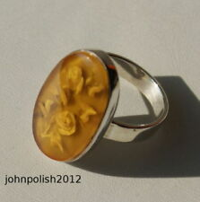 Anelli di lusso con gemme gialli di pietra principale ambra ambra