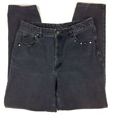 Vintage 90s LizWear Womens 32 High Waist Mom Jeans Black Embellished Studs