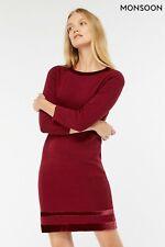 New Monsoon Wine Berry Estella Cotton Velvet Trim Smart Jumper Dress Sizes 12