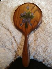 Vintage Solid Oak hand Vanity Mirror Gale Blashka Original Heirloom floral