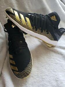 NEW Sz 9 Men's Adidas Afterburner 6 Black Gold Baseball Cleats G27657