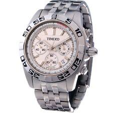 Tiempo 100 para hombres tres subdial Acero & Rose Blanco Negro Dorado banda #W70002G #6