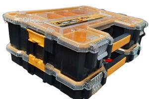 2 Pack DeWalt Pro Organisers Yellow/Black Tool Storage Screws Nails Box
