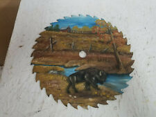 "10"" Red Cabin, Field, Fence, Stream, Buffalo  Painted Circular Saw Blade"