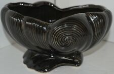 Vintage Black Brown Shell Pottery Planter