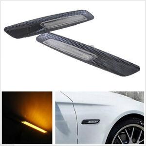 Carbon Fiber LED Side Marker Lights F10 Style Turn Signals Indicator Fit 3 5 Ser