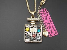 Betsey Johnson Cute inlay Crystal Perfume Bottle Pendant Necklace # B113 J
