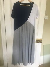 Ladies Cotton Summer Dress Size L, Blue, White and Grey. T-shirt material.