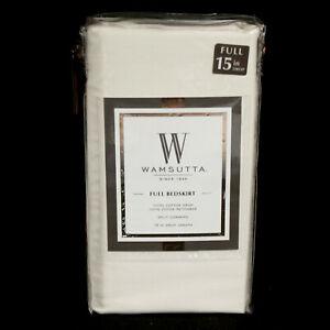 """New WAMSUTTA Full Bedskirt Ivory 100% Cotton Split Corner Sateen Weave 15"""" Drop"""