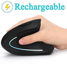 Ergonomic Mouse, Vertical Wireless Mouse - Rechargeable 2.4GHz Optical  (Black)